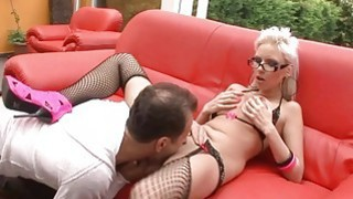 Busty blonde licked and dicked hardcore on a patio