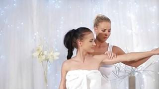 Big tits lesbians licking in massage room