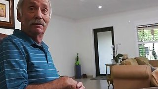 Lucky old man sharing online brunette young wife