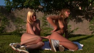 Blue Angel dives in girlfriends pussy outdoor