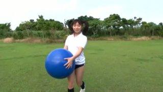 Sport Japanese girl Riho Aitani  posing on a cam